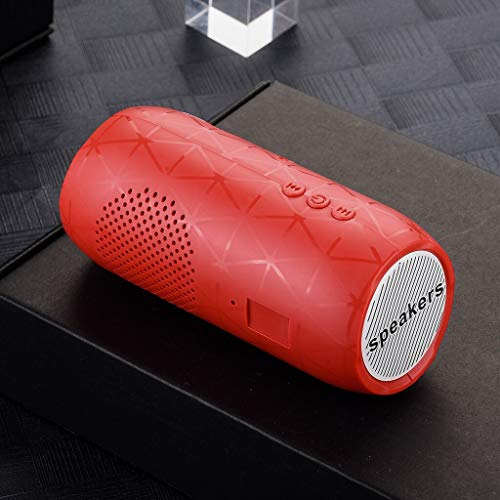Estéreo Hi-Fi inalámbrico Bluetooth Speaker Barra de Sonido FM TF de Radio Subwoofer Altavoces Columna for teléfonos de la computadora (Color : Red, Set Type : Speaker)