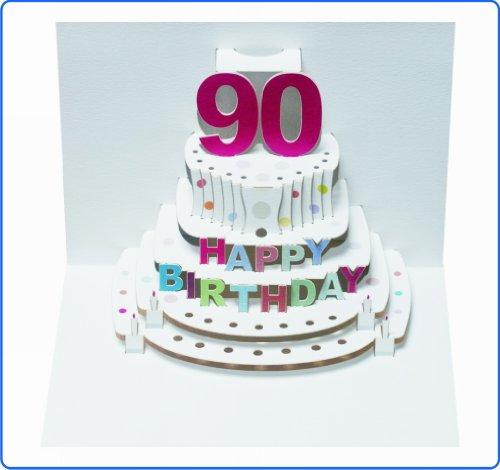 Forever Handmade Pop Up Karte zum 90. Geburtstag - eine hochwertige und originelle Geburtstagskarte, Glückwunschkarte oder Einladungskarte, auch Geschenkgutschein oder Geldgeschenk. GP052