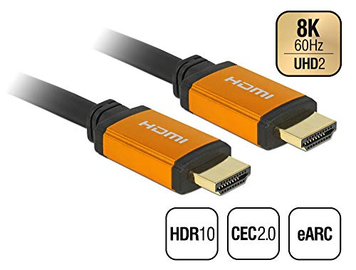 Delock Ultra High Speed HDMI-kabel 48 Gbps 8K 60 Hz 0,5 m. zwart, goud