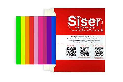 SISER HTV Easyweed - Vinilo termoadhesivo para tejidos, 12 hojas termoadhesivas de 30 x 30 cm para personalizar tus camisetas – Colores fluorescentes