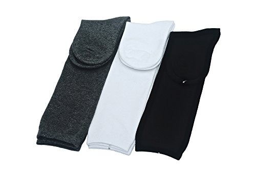 linda-teiko 無地スクールソックス ハイソックス 3足セット 22-24cm, ブラック