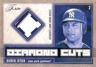 2003 Fleer Flair Diamond Cuts #DC-DJ Derek Jeter Game Worn Jersey Baseball Card - w/ Pinstripe