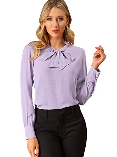 Allegra K Women's Bow Tie Neck Elegant Top Long Sleeve Solid Work Office Lavender Blouse Large Lavender