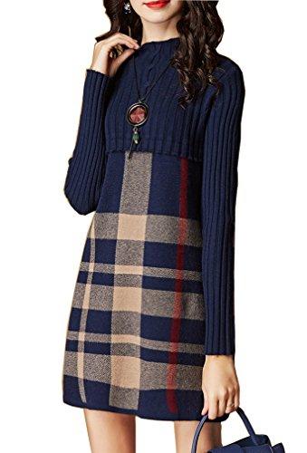 Vestito invernale lavorato a maglia da donna 2017-Abito a maniche lunghe a vita alta con collo alto e maniche lunghe (Blu scuro, M)