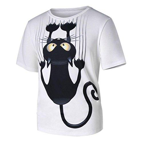 Beikoard Camicia Donna Uomo Donna Coppia Modelli Tshirt a Maniche Corte Tshirt Stampata con Motivo Gatto (Bianca, S)