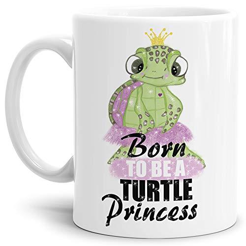 Tassendruck Schildkröte-Tasse mit Spruch Born to be a Princess - Kaffeetasse/Mug/Cup/Prinzessin/Lustig/Witzig/Weiss