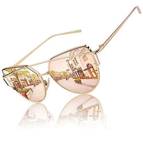 GQUEEN Mode Polarisierte Katzenauge CatEye Sonnenbrille Damen Frau Gespiegelte Verspiegelt Linse Metallrahmen Cat Eye Sunglasses MT3