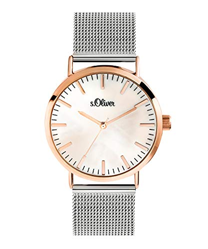 s.Oliver Damen Analog Quarz Uhr mit Edelstahl Armband SO-3669-MQ, Silber-IP Roségold