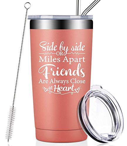 Best Friends Birthday Gifts for Women, Soul Sisters, BFF, Besties, Funny Long Distance Friendship Gifts, Side By Side or Miles Apart Friends Are Always Close at Heart, Mug Tumbler with Lid and Straw