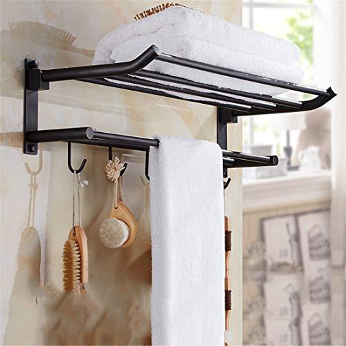 CCLLA Toallero de baño de Cobre Negro Estante Europeo Accesorios de baño Antiguos Toallero Doble, B