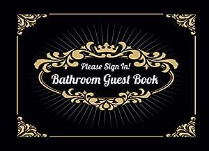 Bathroom Guest Book: Funny Housewarming / White Elephant Gift Idea | Classy Black Cover