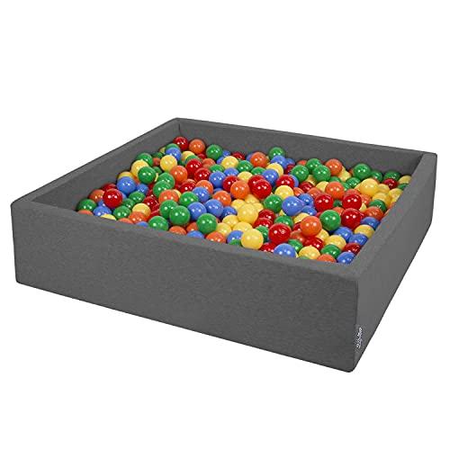 KiddyMoon 120X30cm/600 Bolas ∅ 7Cm El Cuadrado Piscina De Bolas para Ninos Hecha En La UE, Gris Oscuro:Amarillo/Verde/Azul/Rojo/Naranja