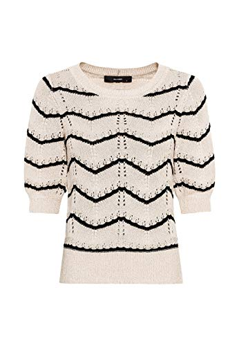 HALLHUBER Pointelle-Pullover mit Streifendessin gerade geschnitten Creme, M