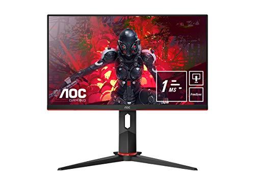 "AOC 24G2U5/BK Monitor da Gaming Flat 23.8"" IPS, Frameless, FHD 1920 x 1080 a 75 Hz, Tempo di Risposta 1 msec/MPRT, 2 x HDMI, 1 DP, 4 x USB, Speaker, Regolabile in Altezza, FreeSync, Nero/Rosso"