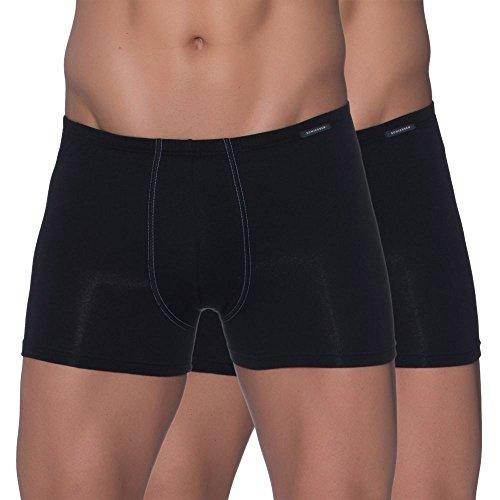 Schiesser Herren (2er Pack) Shorts Unterhose mit weichem Bündchen, Schwarz (schwarz 000), 8
