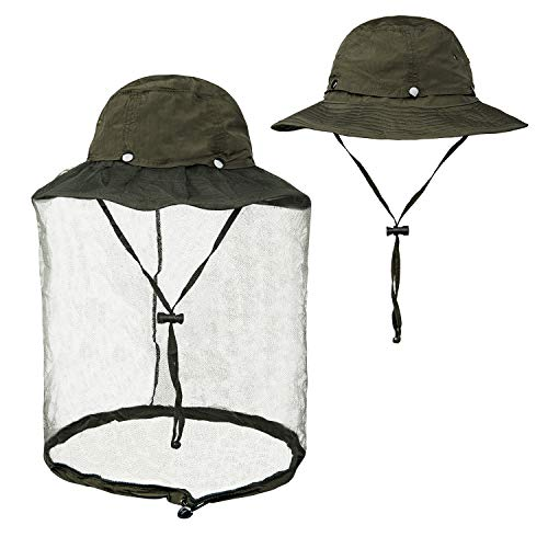 FitsT4 Mosquito Net Hat UPF 50+ Fishing Hat Bug Insect Bee Hat for Men Women Army Green