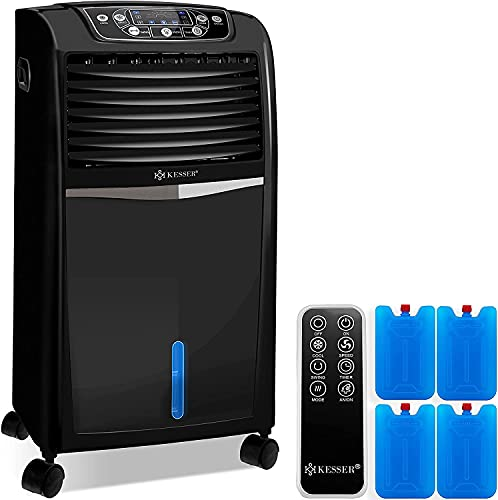 KESSER® 4in1 Mobile Klimaanlage   Fernbedienung   Klimagerät   Ventilator Klimaanlage   8 L Wasser/Eis Tank   Timer   3 Stufen   Ionisator Luftbefeuchter   Luftkühler   Schwarz