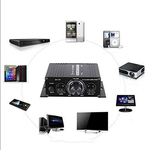 Digitale vermogensversterker, 20 W + 20 W, resolutie 47 K, 12 V, AK170, mini-versterker met lage vervormingsfrequentie voor audio (extra instelling voor hoog en laag volume, met