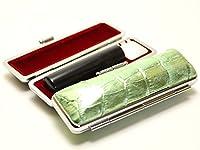 「天然黒水牛印鑑16.5mm×60mmニューカラークロコケース(グリーン)付き」 縦彫り 古印体