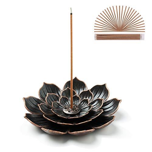 GARMOLY Incense Burner, Incense Holder for Sticks, Brass Lotus Incense Stick Holder with 30 Incense...