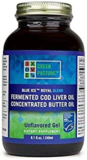 Sponsored Ad - Green Pastures BLUE ICE Royal Butter Oil/Fermented Cod Liver Oil Blend Gel - Non Flavored, 8.1 fl. oz.
