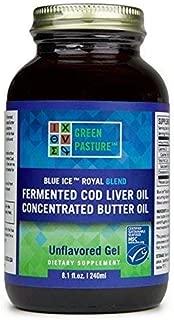 Green Pastures BLUE ICE Royal Butter Oil/Fermented Cod Liver Oil Blend Gel - Non Flavored, 8.1 fl. oz.