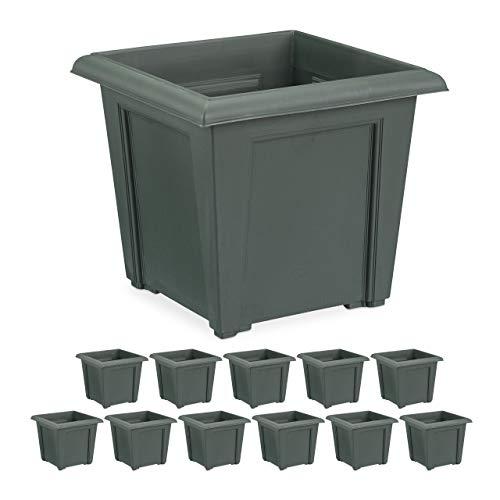 Relaxdays Pflanzkübel Set, quadratisch, außen u. innen, Kunststoff, Pflanztopf, Füllmenge 5 L Erde (12er Set)
