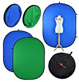 PhotoGeeks Fondo Chroma Key de2 m x 1,5 m, Verde y Azul, Reversible,...