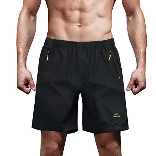 TACVASEN ランニング ショートパンツ フィットネス ビーチパンツ メンズ おしゃれ ランニング ショーツ KSK-ブラック M