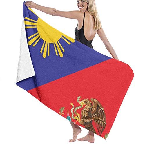 AGSIGGSGO Toalla de playa con estampado de la bandera de México de Filipinas para adultos, de microfibra, superabsorbente, resistente a la decoloración, para natación, surf, gimnasio, spa, 30 x 50 pulgadas