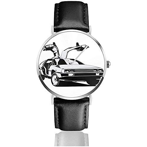 Unisex Delorean Zurück in die Zukunft Uhren Quarzlederuhr mit schwarzem Lederband