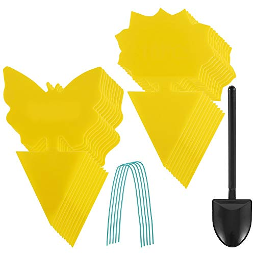 Ghopy 26Pcs plug-in fly trap yellow plates yellow sticker protection plant from the mosquito aphids, leaf flies and vermin, ideal for plants on the balcony or in the garden