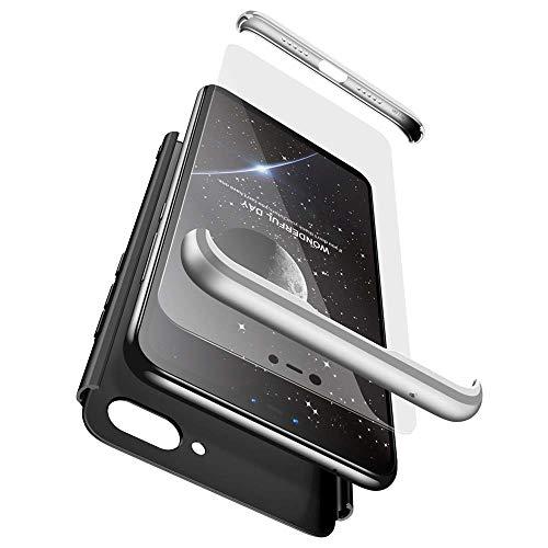 cmdkd Funda Compatible con Xiaomi Mi 8 Lite,Case Bumper 3 en 1 Estructura 360 Grados Integral para Ambas Caras Hard Skin Carcasa + Cristal Templado.Plata Negro