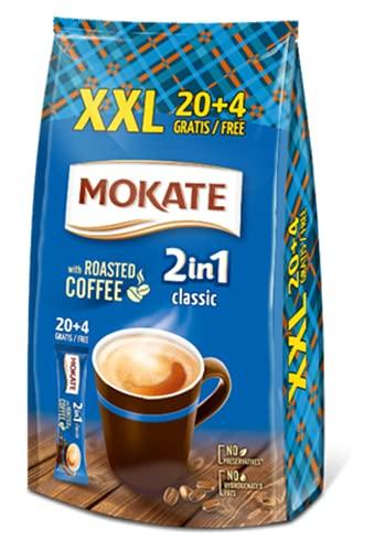 MOKATE Classis 2-in-1 Sticks Ohne Zucker, löslicher Bohnenkaffee, mit Creamer & Kokosöl, Instant-Kaffee aus gerösteter Kaffeebohnen, koffeinhaltig 336g (24 x 14g)