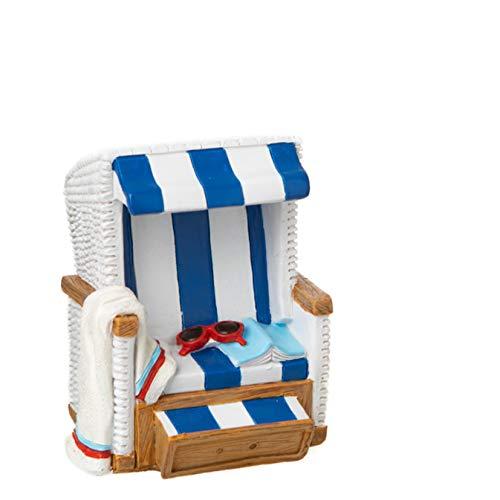 Topshop24you wunderschöne Urlaubskasse,Reisekasse Spardose Strandkorb blau/weiß mit Gummipfropfen