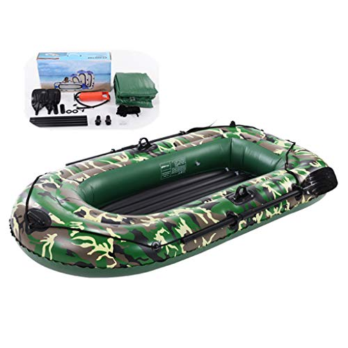 LALAWO Aufblasbares Kajak, 4-Personen-Schlauchboot-Set Mit Rudern, Verdicktes Aufblasbares Fischerboot Mit Aufblasbarer Kissen-Tarnung