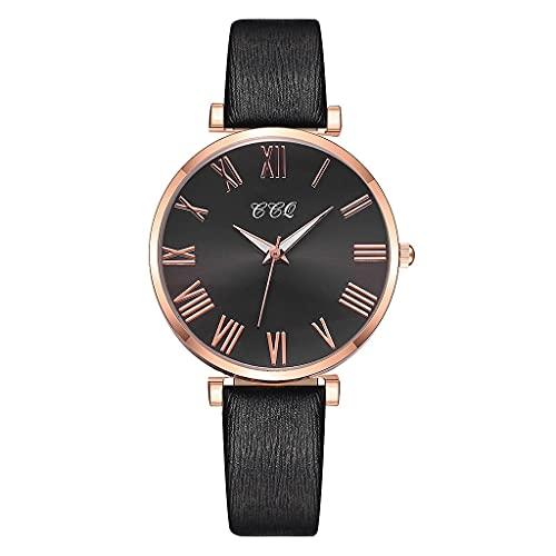 CXJC Roman Numeral dial de la Correa Fina de Las Mujeres Reloj de Cuarzo. Reloj Deportivo Juvenil Impermeable (Color : F)