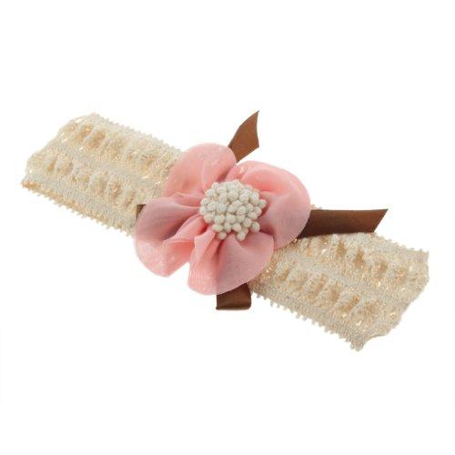 SODIAL(R) Bandeau de dentelle avec une fleur de mousseline de soie Rose pale pour les enfants
