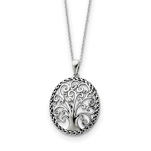 925 Sterling Silver Cubic Zirconia Cz Tree Of Life 18 Inch Chain Necklace Pendant Charm Fine Jewelry For Women Gifts For Her