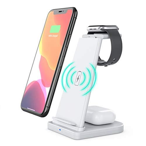 Galapara Estación de carga inalámbrica 3 en 1 para iPhone 12 11 X XR XS para Samsung Galaxy S9 S8 para iWatch 5 4 3 2 1 para Airpods Qi
