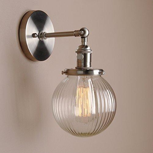 Pathson Antik Deko DesignGestreifte Kleine Kugel Glas innen Wandbeleuchtung Wandleuchten Loft-Wandlampen Wandbeleuchtung (Gebürsteter Edelstahl Farbe)