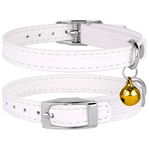 CollarDirect Leather Cat Collar, Cat Safety Collar with Elastic Strap, Kitten Collar for Cat with...