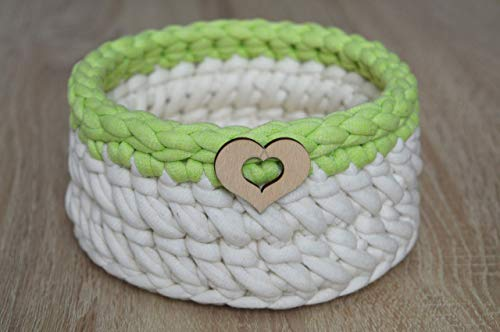 16 cm   Decorative little basket with heart - storage basket with wooden bottom - crocheted basket - white and green
