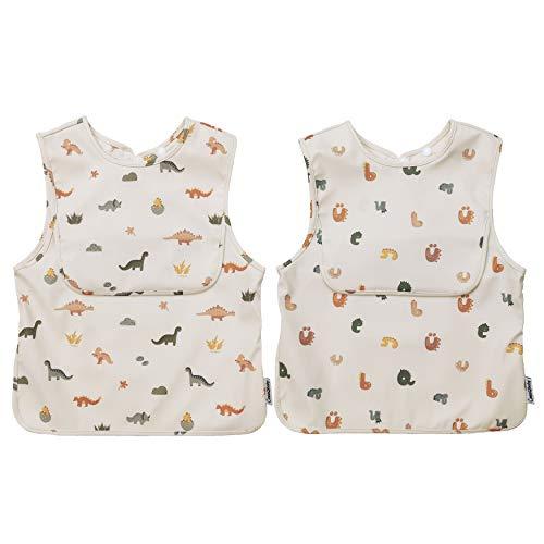 ÜneeQbaby Bavaglini impermeabili per neonati e bambini, 2 pezzi, senza maniche, certificato Oeko-TEX per l'alimentazione e il gioco disordinato con tasca sul petto, tuta