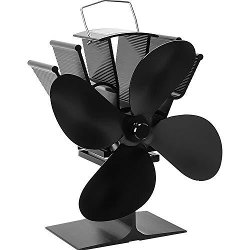 Kaminventilator, Orthland Ofen Ventilator ohne Strom mit 4 Rotorblätter und Breite Verbindungsplatte für Holz/LOG Brenner/Kamin, Hitze Powered Ofen Fan Aluminium Leise &Umweltfreundlich