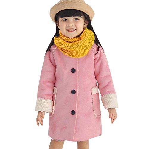 URSING Baby Mädchen Berber Fleece Jacke Winter Warme Fleece Baumwolle Kinderjacke mit Taschen Prinzessin dick Mantel Elegant Super süße Freizeitjacke Sportjacke (140cm, Rosa)