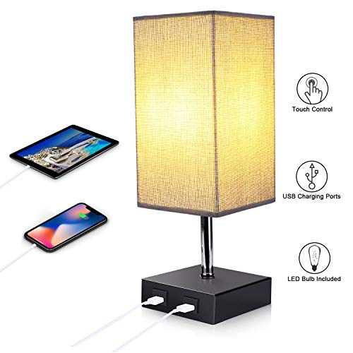 ENCOFT E27 Tischlampe Nachttischlampen mit 2 USB Anschluss und Dimmbirne dimmbar Schreibtischleuchte quadratisch Lampenschirm für Schlafzimmer Wohnzimmer eckig[Energieklasse A+] (Style 4, 1)