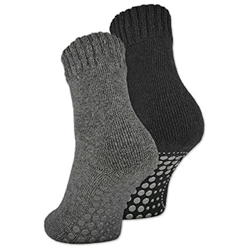 2   4   6 Paar ABS Socken Herren Anti Rutsch Socken mit Wolle 21463 (Schwarz+Anthrazit 2 Paar 39-42)