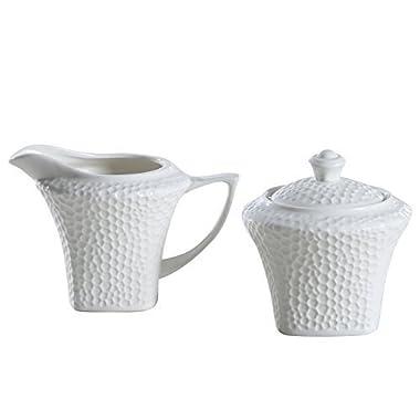 SOLECASA 7+7.5-OZ  White Porcelain/Ceramic Sugar and Creamer Set, Pitcher and Sugar Bowl Set