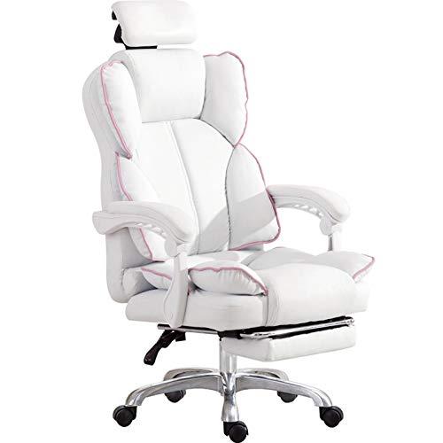 Nylon feet Silla de computadora, silla ergonómica de la computadora, silla en vivo cómoda + asiento de cuero, silla de juego de anclaje alto para uso doméstico, silla de estudiante blanco Debuggable